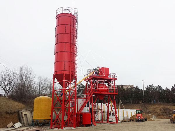 HZS60 small concrete plant in Romania