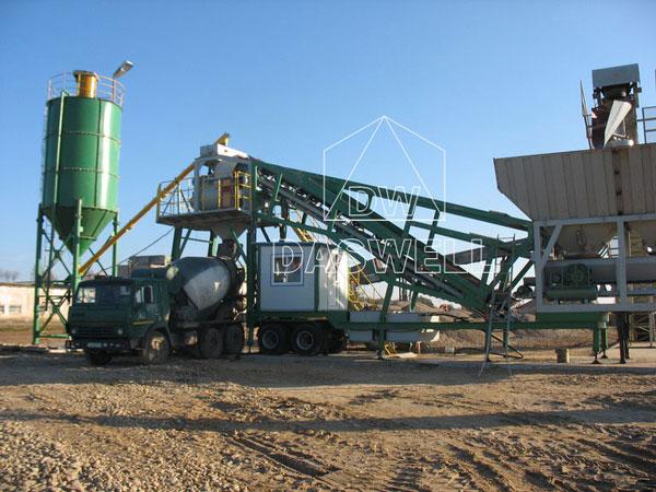 YHZS35 mobile concrete batching plant