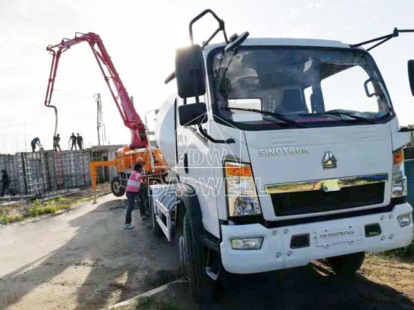 building construction of boom pump truck