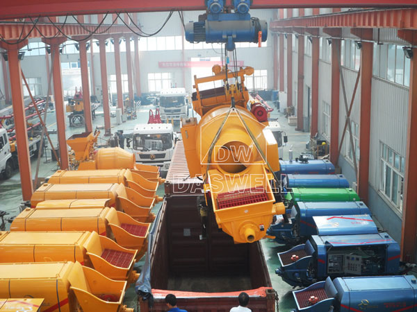 deliver the concrete mixing pump machine