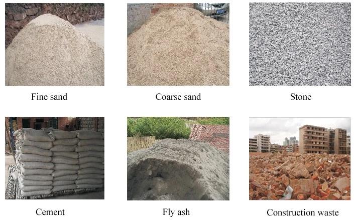 raw materials of brick block machine