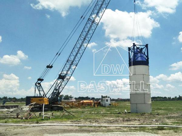 the installation of concrete silos